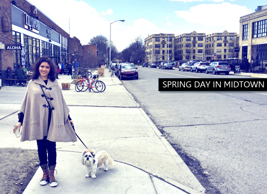spring day in Midtwon Detroit